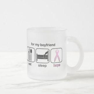Boyfriend Eat Sleep Hope - Breast Cancer 10 Oz Frosted Glass Coffee Mug
