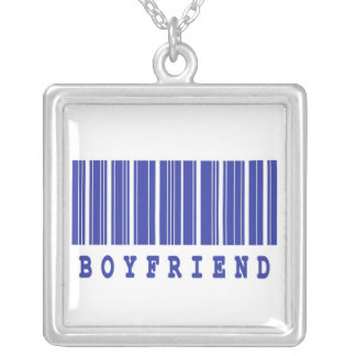 boyfriend funny barcode design silver plated necklace