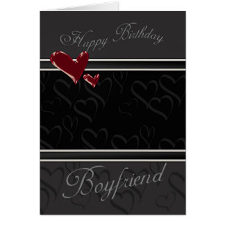 Boyfriend Happy Birthday card for male with hearts