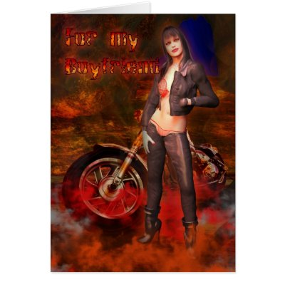 Boyfriend Happy Birthday Sexy Biker Female With Mo Card