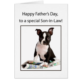 Boyfriend, Happy Father's Day, Boston Terrier with Card