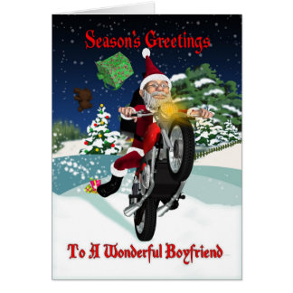 Boyfriend Motorcycle Santa With Flying Gifts Greeting Card