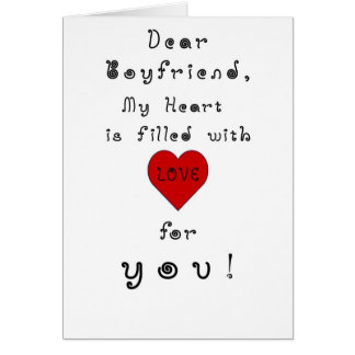 Boyfriend, My Heart is Filled with Love Humor Card