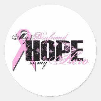 Boyfriend My Hero - Breast Cancer Hope Classic Round Sticker