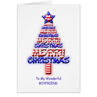 Boyfriend, patriotic Christmas tree Greeting Card