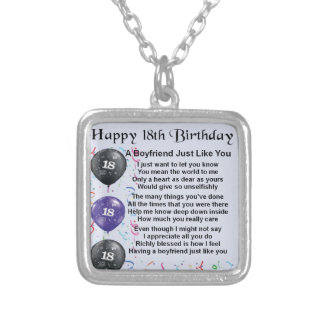 Boyfriend Poem - 18th Birthday Personalized Necklace