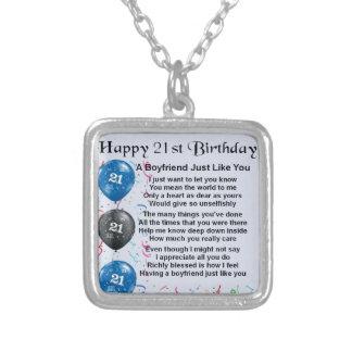 Boyfriend Poem - 21st Birthday Pendant