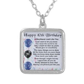 Boyfriend poem - 40th Birthday Personalized Necklace
