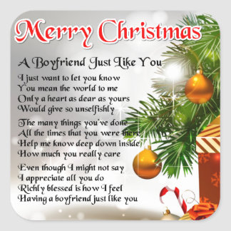 Boyfriend Poem - Christmas Design Square Sticker