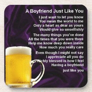 Boyfriend Poem - Glass of Beer Design Beverage Coaster