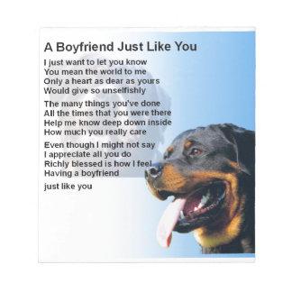 Boyfriend Poem - Rottweiler Design Notepad