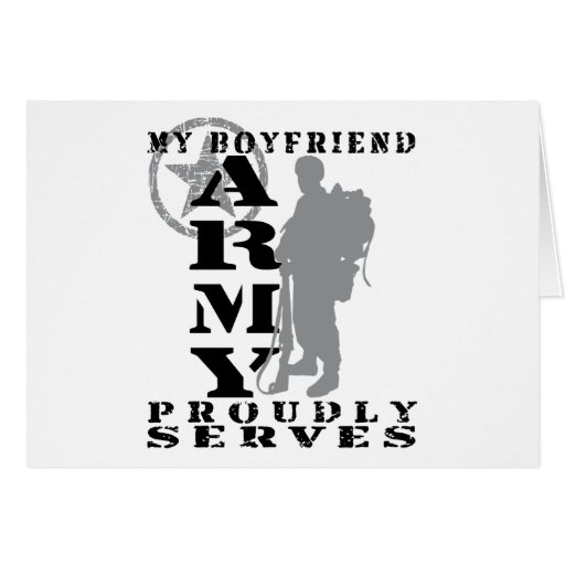 Boyfriend Proudly Serves - ARMY Greeting Card