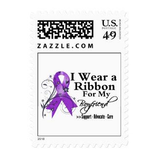 Boyfriend Purple Ribbon - Pancreatic Cancer Postage Stamp