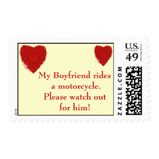 Boyfriend rides a Motorcycle, watch out for him Stamp