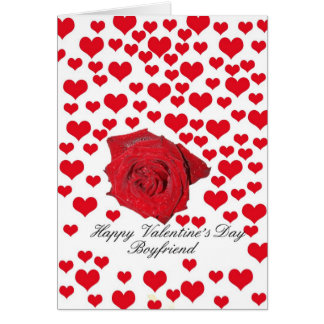 Boyfriend Rose and hearts Valentine´s Day Greeting Card