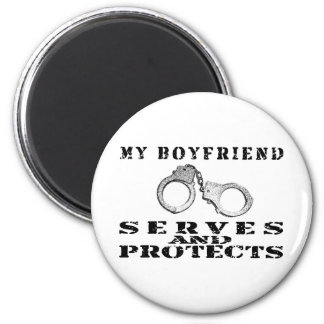 Boyfriend Serves Protects - Cuffs 2 Inch Round Magnet
