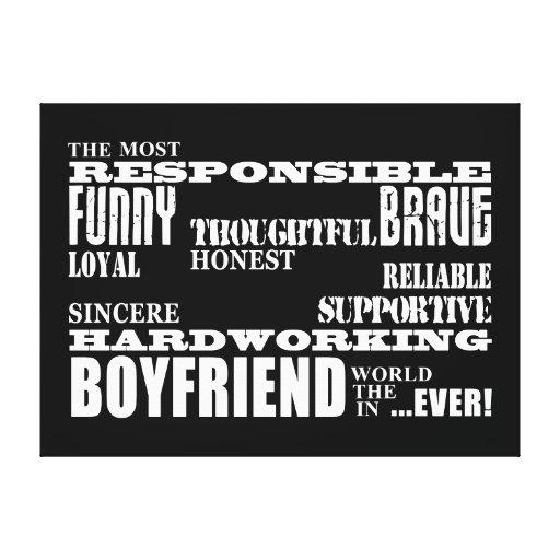 Boyfriends Best & Greatest Boyfriend : Qualities Stretched Canvas Print