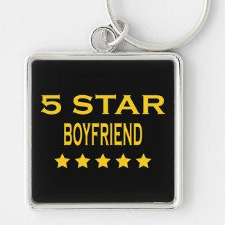 Boyfriends Birthdays Valentines 5 Star Boyfriend Silver-Colored Square Keychain