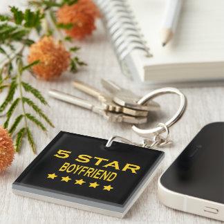 Boyfriends Birthdays Valentines 5 Star Boyfriend Single-Sided Square Acrylic Keychain