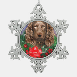 Boykin Spaniel Christmas Snowflake Pewter Christmas Ornament