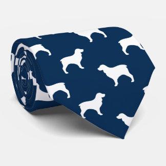 Boykin Spaniel Silhouettes Pattern Blue Neck Tie