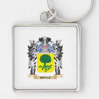 Boyle Coat of Arms - Family Crest Silver-Colored Square Keychain