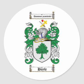 BOYLE FAMILY CREST -  BOYLE COAT OF ARMS CLASSIC ROUND STICKER