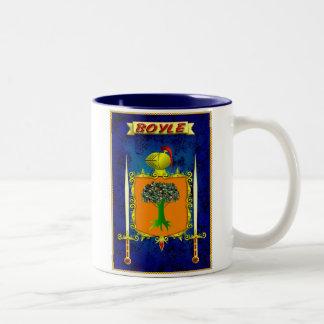 BOYLE IRISH FAMILY HERALDIC SHIELD AND CREST Two-Tone COFFEE MUG