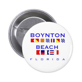 Boynton Beach, FL - Nautical Flag Spelling Pinback Button