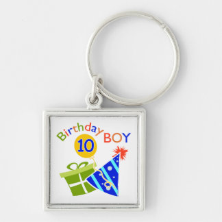 Boys 10th Birthday Silver-Colored Square Keychain
