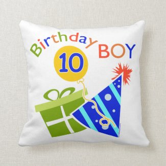 Boys 10th Birthday Throw Pillow