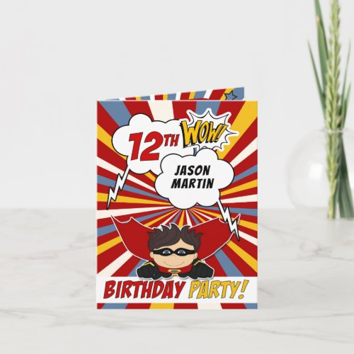 Boys 12th Birthday Party Superhero Comic Theme Invitation
