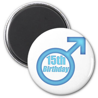 Boys 15th Birthday Gifts 2 Inch Round Magnet