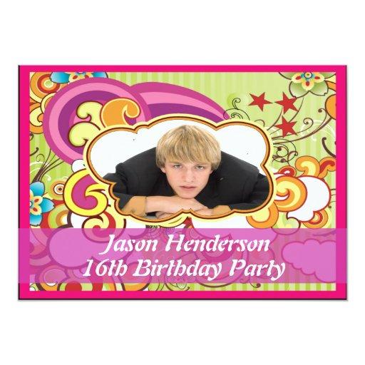 Boys 16 Birthday Party Invitation