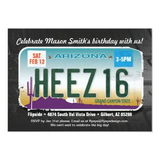 Boy's 16th Birthday Arizona License Invitation