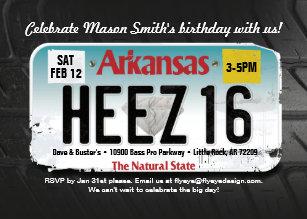 Boys 16th Birthday Arkansas License Invitation