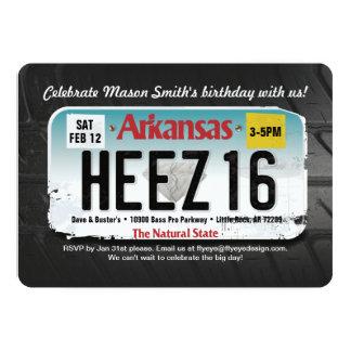 Boy's 16th Birthday Arkansas License Invitation