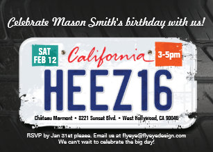 Boys 16th Birthday California License Invitation