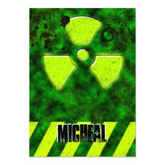"Boys 16th Birthday Goth Bio-hazard Invitation 5"" X 7"" Invitation Card"