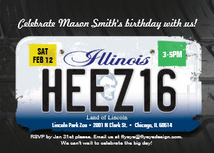 Boys 16th Birthday Illinois License Invitation