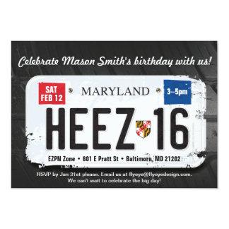 Boy's 16th Birthday Maryland License Invitation