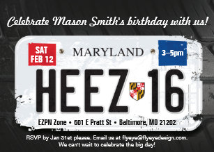 Boys 16th Birthday Maryland License Invitation
