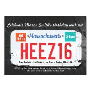 Boys 16th Birthday Massachusetts Invitation