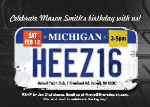 Boys 16th Birthday Michigan License Invitation