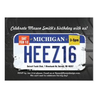 Boy's 16th Birthday Michigan License Invitation