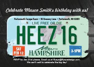 Boys 16th Birthday New Hampshire Invitation