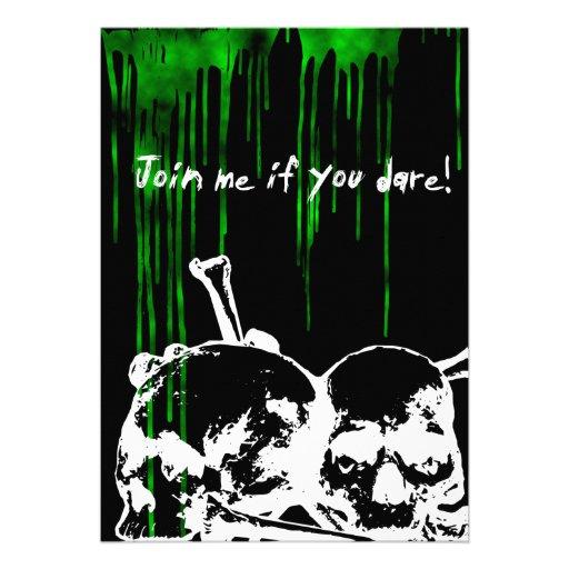 Boys 16th Birthday Party Toxic Skulls Goth Invitat Custom
