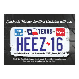 Boys 16th Birthday Texas License Invitation
