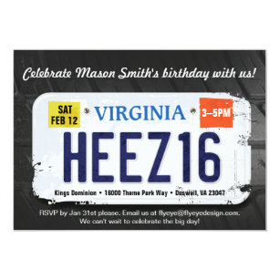 Boys 16th Birthday Virginia License Invitation