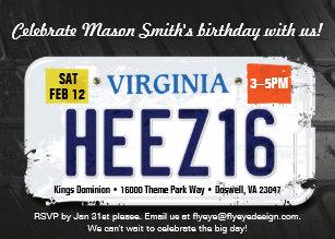 Boys 16th Birthday Virginia License Invitation